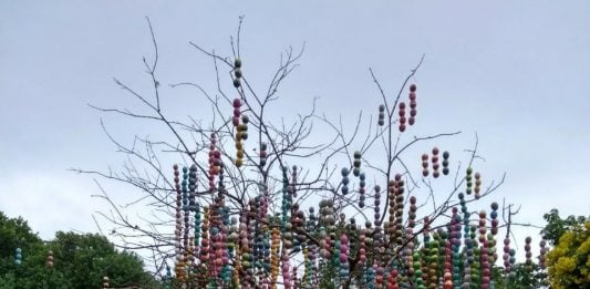 [Árvore decorada com 10 mil ovos é atração em Criciúma]